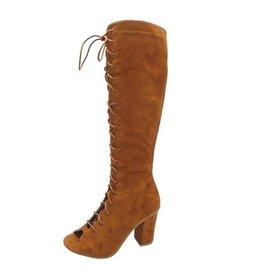 Cognac Suede Lace Up Boots