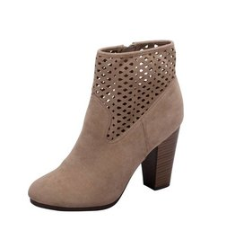 Taupe Suede Cutout Booties