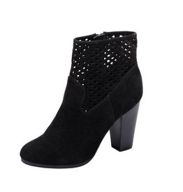 Black Suede Cutout Booties