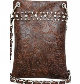 Brown Embossed Crossbody Bag