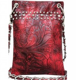 Red Embossed Crossbody Bag