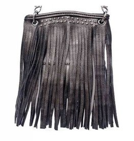 Pewter Jeweled Tassel Crossbody Bag