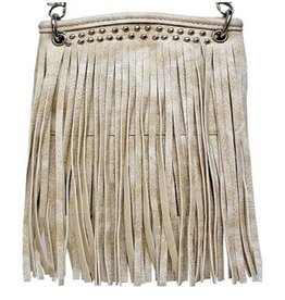 Beige Jeweled Tassel Crossbody Bag