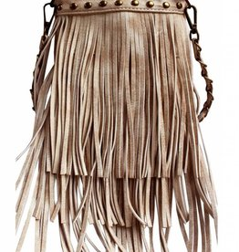 Beige Triple Tassel Crossbody Bag