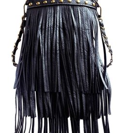 Black Triple Tassel Crossbody Bag