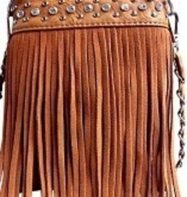 Cognac Jeweled Tassel Crossbody Bag