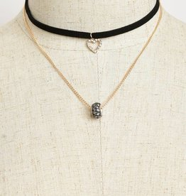 Jeweled Heart Accent Choker
