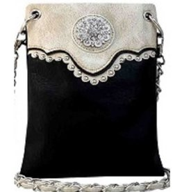 Beige Black Jeweled Crossbody Bag