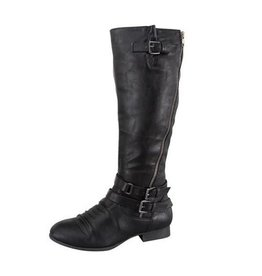 Knee High Black Buckle Boots