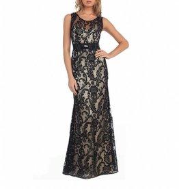 Black Lace Illusion Long Dress Size M