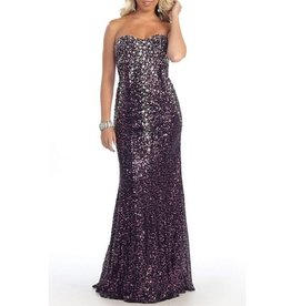 Black & Purple Sequined & Jeweled Long Dress