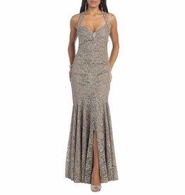 Taupe Sequined Long Dress Size 16