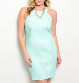 Mint White Patterned Short Dress