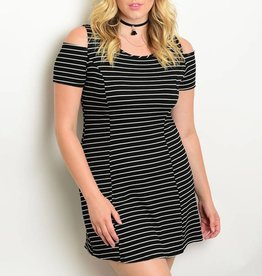 Black & White Striped Short Dress