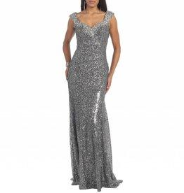 Charcoal Jeweled Full Sequin Long Dress