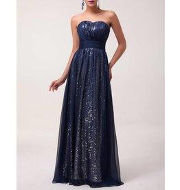 Navy Blue Chiffon Over Sequin Long Dress Size 4