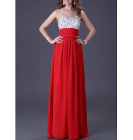 Red White Jeweled Top Long Dress Size 4