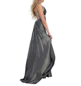 Charcoal Jeweled Long Dress Size 10