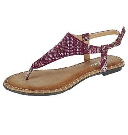 Burgundy Jeweled Sandals