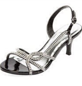 Black Rhinestone Short Heels