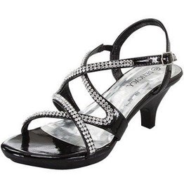 Black Short Heels With Rhinestones
