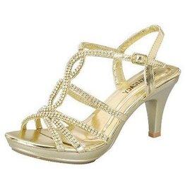 Gold Heels With Rhinestones