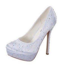 White Sparkle Platform Heels