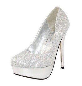 Silver Platform Glitter Heels
