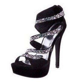 Black Sparkle Platform Heels