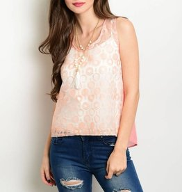Peach Sheer Tank Top