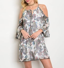 Paisley Off Shoulder Short Dress