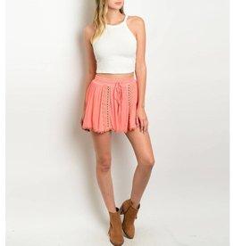 Coral Crochet Shorts