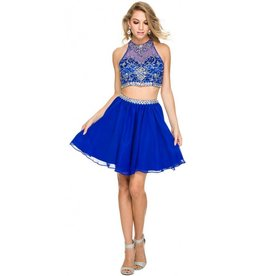Royal Blue Jeweled Two Piece Short Dress Size M