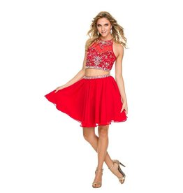 Red Jeweled Two Piece Short Dress Size S