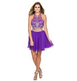 Purple Jeweled Two Piece Short Dress Size M