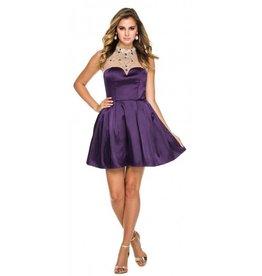 Plum Jeweled High Neck Short Dress Size S