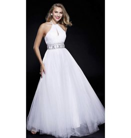 White Jeweled High Neck Long Dress Size M