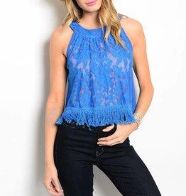 Blue Lace Tassel Top