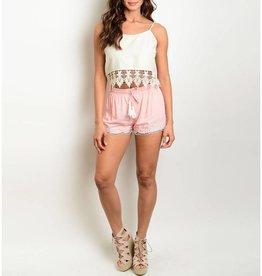Pink & Ivory Shorts