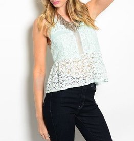 Mint Lace Tank Top