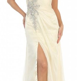 Ivory Jeweled Long Dress Size 4