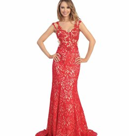 Red Nude Lace Long Dress Size XS