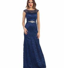 Navy Lace Long Dress Size 8