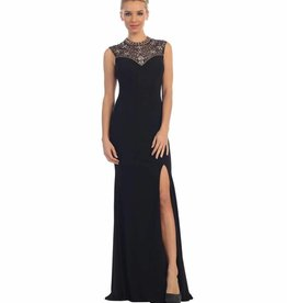 Black Jeweled Long Dress Size L