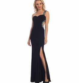 Black Jeweled Long Dress