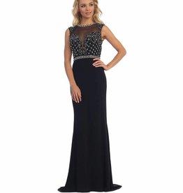 Black Jeweled Long Dress Size XS