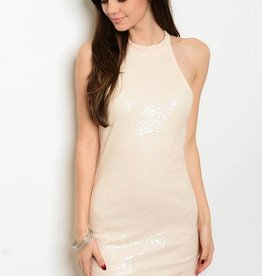 Peach Sequin Short Dress