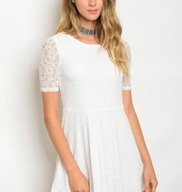 Off White Lace Short Dress