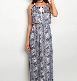 Navy White Peach Paisley Maxi Dress