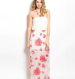 Ivory Pink Floral Maxi Dress